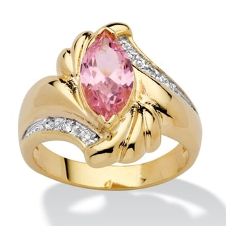 PalmBeach 2.05 TCW Marquise-Cut Pink Cubic Zirconia Ring in 14k Gold-Plated Color Fun