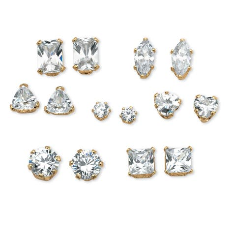 Gold over Sterling Silver 7 pair Set Stud Earrings Cubic Zirconia