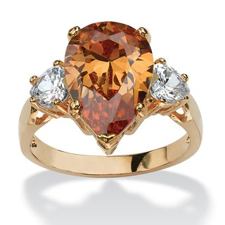 6.41 TCW Pear-Cut Champagne Cubic Zirconia Ring in 14k Gold-Plated Color Fun