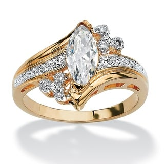 1.03 TCW Marquise-Cut Cubic Zirconia Engagement Anniversary Ring in 14k Gold-Plated Classi