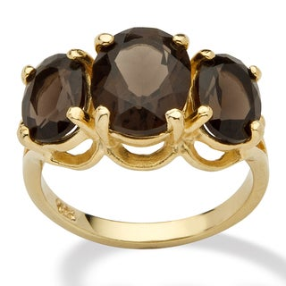 14k Yellow Gold over Sterling Silver 4.9ct TGW Oval-Cut Genuine Smoky Quartz 3-Stone Ring