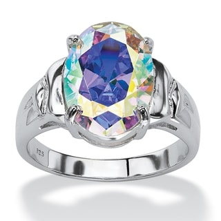 5.81 TCW Oval-Cut Aurora Borealis Cubic Zirconia Cocktail Ring in Sterling Silver Color Fun