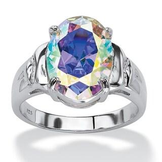 Sterling Silver Aurora Borealis Cubic Zirconia Ring - Multi