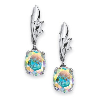 PalmBeach 5.08 TCW Oval-Cut Aurora Borealis Cubic Zirconia Drop Earrings in Sterling Silver Color Fun
