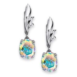 5.08 TCW Oval-Cut Aurora Borealis Cubic Zirconia Drop Earrings in Sterling Silver Color Fu