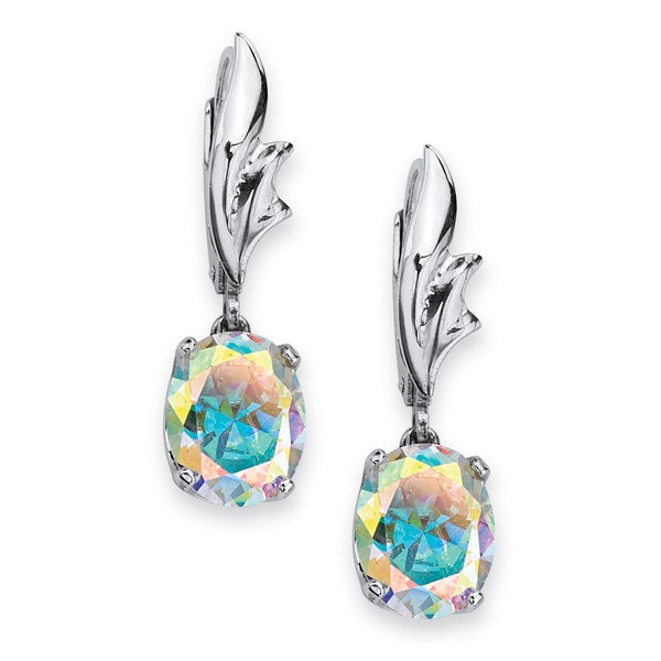5.08 TCW Oval-Cut Aurora Borealis Cubic Zirconia Drop Earrings in Sterling Silver Color Fu