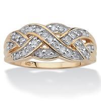 1/4 TCW Round Diamond 10k Gold Braid Ring
