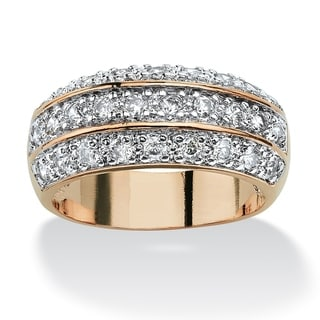 Yellow Gold-plated Cubic Zirconia Triple Row Engagement Ring