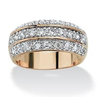 1.68 TCW Round Cubic Zirconia Triple Row Anniversary Ring in 14k Gold-Plated Classic CZ