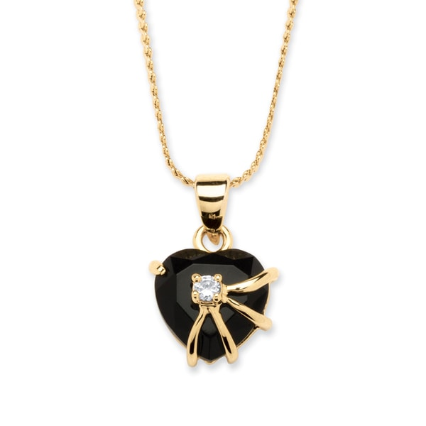 Heart Shaped Onyx with Cubic Zirconia Accent Pendant Necklace in 14k Gold-Plated Naturalis