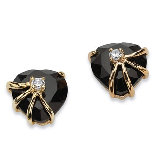 PalmBeach Heart-Shaped Genuine Onyx Cubic Zirconia Accent 14k Yellow Gold-Plated Stud Earrings Naturalist