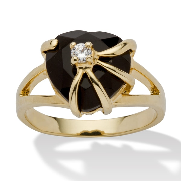 Heart-Shaped Genuine Onyx Cubic Zirconia Accent 14k Yellow Gold-Plated Cocktail Ring Natur