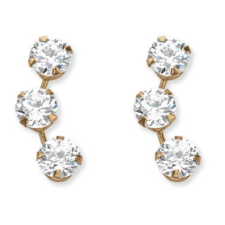 PalmBeach 1.50 TCW Round Cubic Zirconia Stud Earrings in 14k Gold Classic CZ