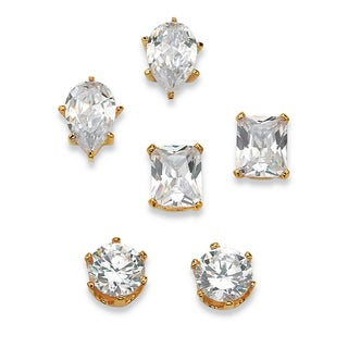 PalmBeach 19.56 TCW Cubic Zirconia 18k Gold over Sterling Silver Stud 3-Pairs Earrings Set Glam CZ