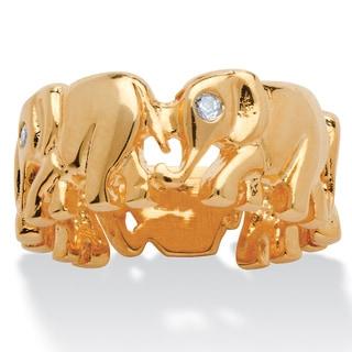 Round Cubic Zirconia 14k Yellow Gold-Plated Elephant Caravan Ring Glam CZ
