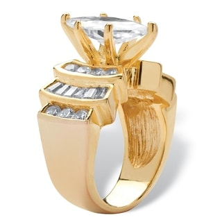 PalmBeach 3.63 TCW Marquise-Cut and Round Cubic Zirconia 18k Gold over Sterling Silver Ring Classic CZ