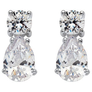 15.50 TCW Pear-Shaped and Round Cubic Zirconia Sterling Silver Drop Earrings Glam CZ