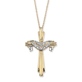 "Diamond Accent 10k Gold Cross and Robe Pendant and 18"" Chain"