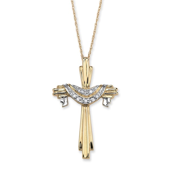 """Diamond Accent 10k Gold Cross and Robe Pendant and 18"""" Chain"""