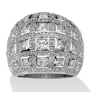 PalmBeach 4.12 TCW Princess-Cut and Round Cubic Zirconia Sterling Silver Dome Ring Glam CZ
