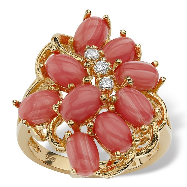 Coral 18k Gold over Sterling Silver Cluster Cocktail Ring Naturalist