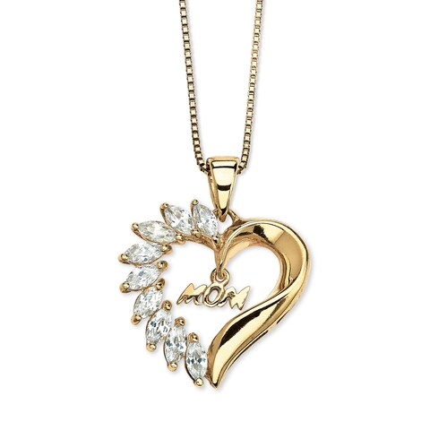 1.35 TCW Cubic Zirconia Mom Heart Pendant Necklace in 18k Gold over Sterling Silver Classi