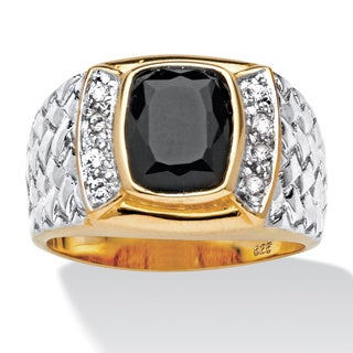 PalmBeach Men's Cushion-Cut Onyx and Cubic Zirconia Ring in 18k Gold over Sterling Silver Sizes 8-16