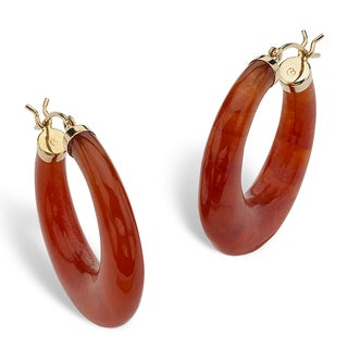 PalmBeach Red Jade 14k Yellow Gold Hoop Earrings Naturalist