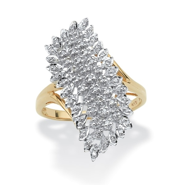 82c0cc8759d82c Shop 10K Yellow Gold Round Genuine Diamond Cluster Ring (1/7 cttw) - White  - On Sale - Free Shipping Today - Overstock - 5267649