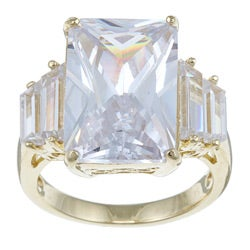 29.95 TCW Emerald-Cut Cubic Zirconia 18k Gold over Sterling Silver Ring Glam CZ