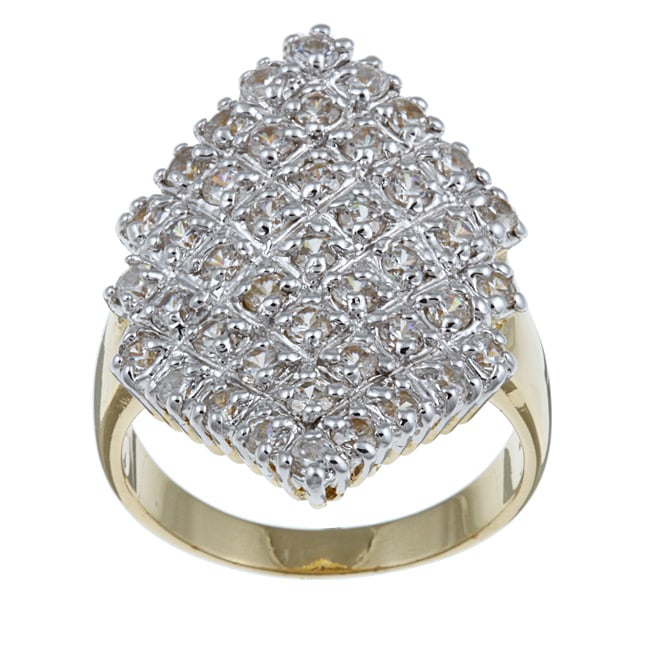 Ultimate CZ 18k Yellow Gold over Sterling Silver Cubic Zirconia Cluster Ring