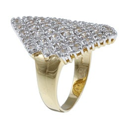 Ultimate CZ 18k Yellow Gold over Sterling Silver Cubic Zirconia Cluster Ring - Thumbnail 1