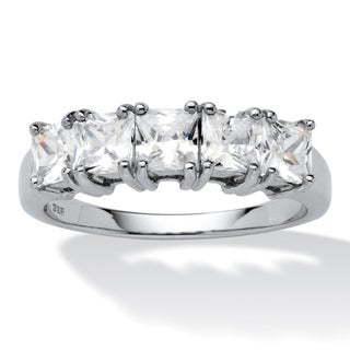 1.85 TCW Princess-Cut Cubic Zirconia Platinum over Sterling Silver Wedding Band Ring Class