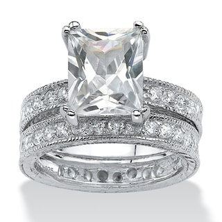 PalmBeach 2 Piece 5.98 TCW Emerald-Cut Cubic Zirconia Bridal Ring Set in Sterling Silver Glam CZ