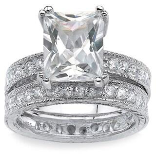 PalmBeach 2 Piece 5.98 TCW Emerald-Cut Cubic Zirconia Bridal Ring Set in Sterling Silver Glam CZ