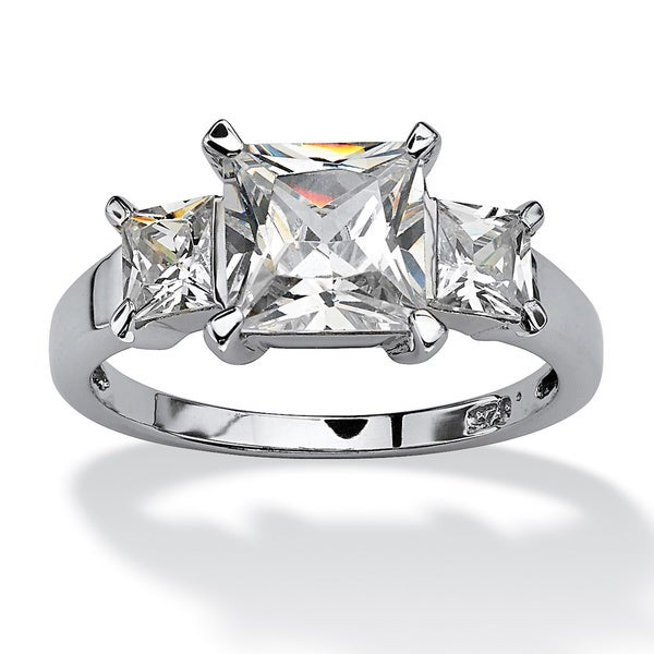 2.36 TCW Princess-Cut Cubic Zirconia 3-Stone Engagement Ring in Platinum over Sterling Sil
