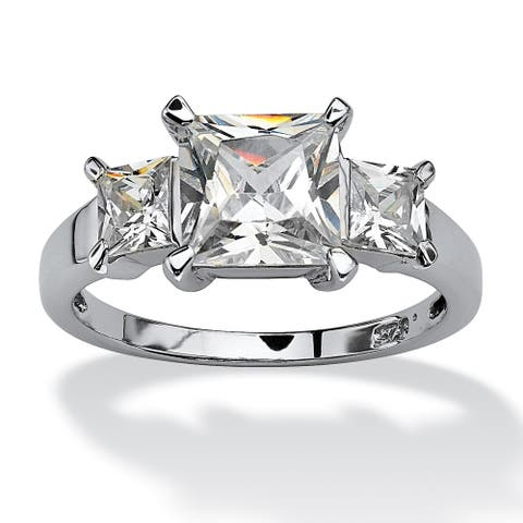 Platinum over Sterling Silver Cubic Zirconia 3-Stone Bridal Ring - White