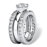 Platinum over Sterling Silver Cubic Zirconia 3-Piece Bridal Ring Set - White