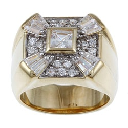 PalmBeach Men's 2.47 TCW Square Round Baguette Cubic Zirconia 18k Gold over Sterling Silver Ring