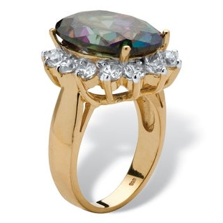 PalmBeach 10.72 TCW Oval-Cut Mystic Colored Cubic Zirconia Ring in 18k Gold over .925 Sterling Silver Color Fun