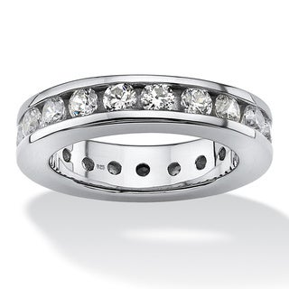 2.10 TCW Round Cubic Zirconia Platinum over Sterling Silver Eternity Ring Classic CZ