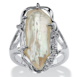 Cultured Freshwater Biwa Pearl with White Topaz Accents Sterling Silver Ring Naturalist|https://ak1.ostkcdn.com/images/products/5267669/P13084604.jpg?impolicy=medium