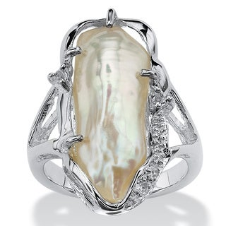 Cultured Freshwater Biwa Pearl with White Topaz Accents Sterling Silver Ring Naturalist