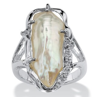 Cultured Freshwater Biwa Pearl with White Topaz Accents Sterling Silver Ring Naturalist (More options available)
