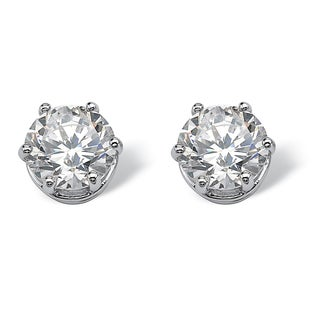 4 TCW Round Cubic Zirconia Stud Earrings in Platinum over Sterling Silver Classic CZ