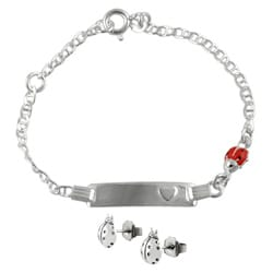 Journee Collection Sterling Silver Lady Bug Children's Bracelet/ Earring Set