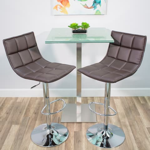 MIX Chrome Faux Leather White Adjustable Height Swivel Bar Stool with Round Trumpet Base