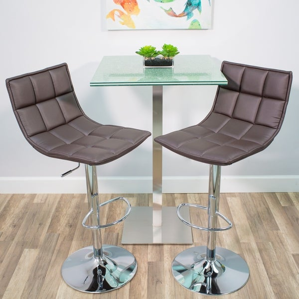 Shop Mix Chrome Faux Leather White Adjustable Height