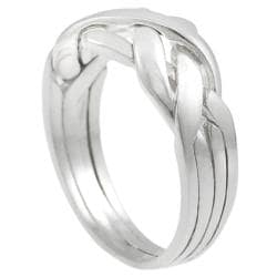 Journee Sterling Silver Four-piece Puzzle Ring