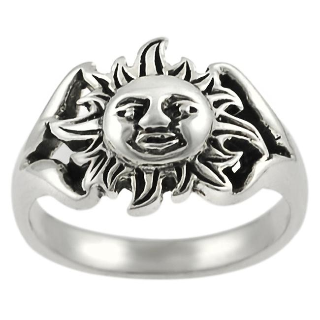 Journee Collection  Sterling Silver Sun Face Ring